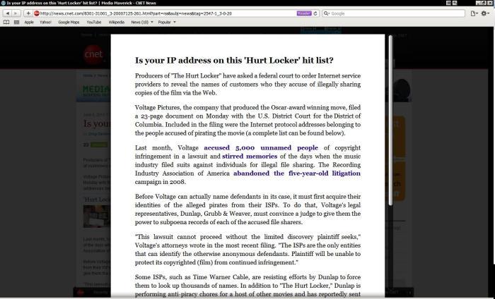 CNet in Safari 5 Reader